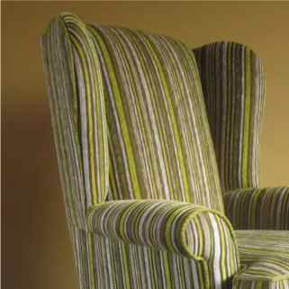 chair upholstered in striped lime green fabric