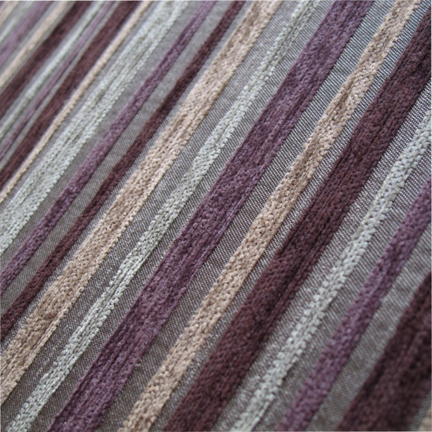 Striped Purple Chenille Upholstery Fabric Mobberley Damson - Chenille upholstery fabric