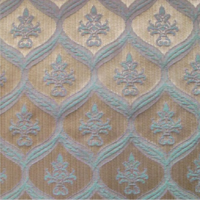Patterned Cream And Blue Damask Curtain and Upholstery Fabric ...
