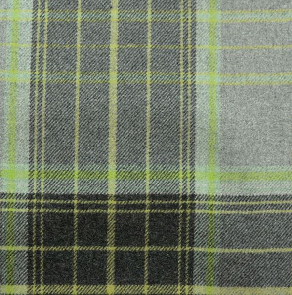 Tartan Plaid Grey And Green Wool Curtain And Upholstery Fabric