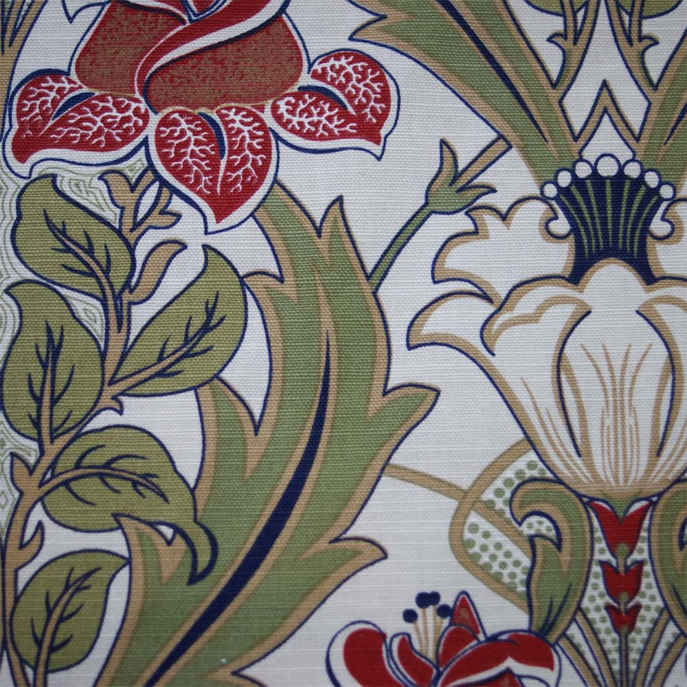 Art Deco Art Nouveau Red Flat Weave Curtain And Upholstery Fabric