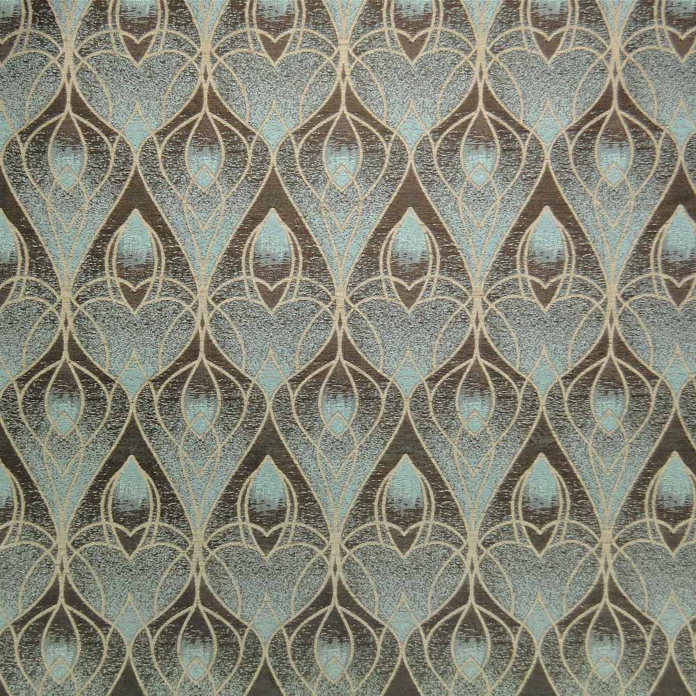 Art Deco / Art Nouveau Flat Weave Fabric | Teal Nouveau Pattern from ...