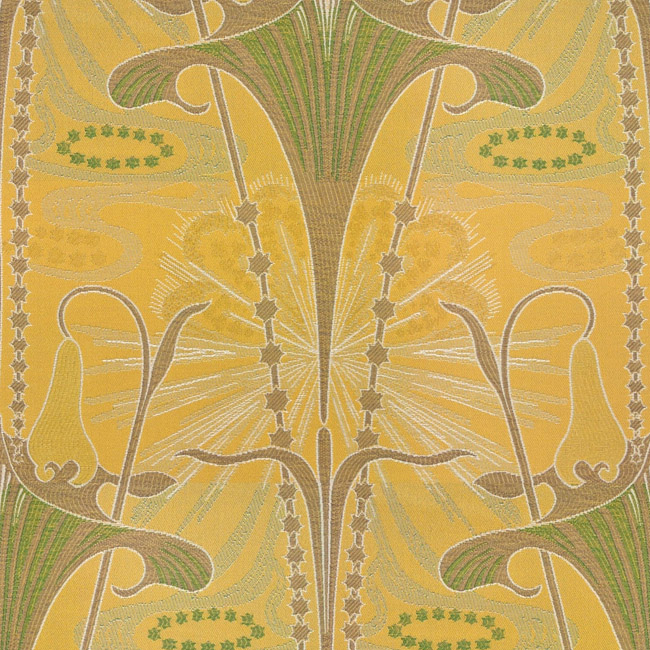 Art Deco Art Nouveau Gold Flat Weave Curtain And Upholstery Fabric