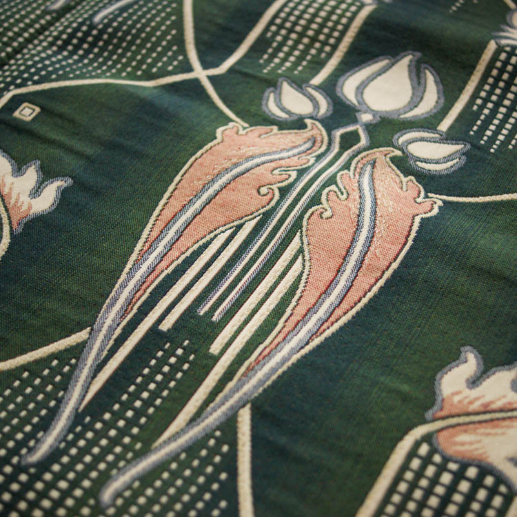 Art Deco Art Nouveau Green Flat Weave Curtain And Upholstery Fabric