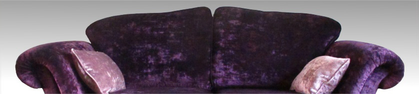aubergine upholstery fabric on a Loome sofa