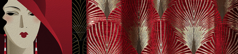 red art deco design curtain fabric