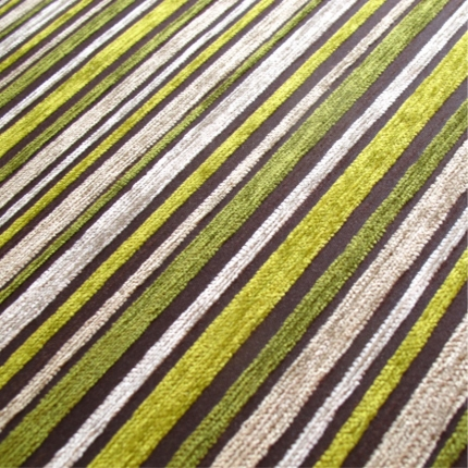 Striped Green Chenille Upholstery Fabric Mobberley