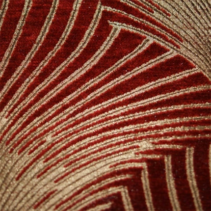 Art Deco Art Nouveau Red And Gold Chenille Curtain And